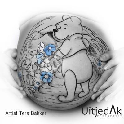 Bellypaint Winnie the Pooh Tera Bakker, UitjedakFotografie Nieuwegien