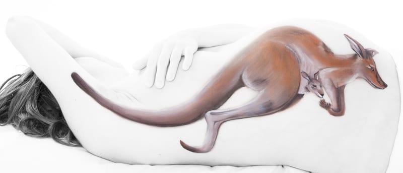 Bodypaint Kangaroo Uitjedakfotografie